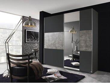 Schwebetürenschrank 2-trg. in grau-metallic mit Absetzungen in stone grey und 1 Spiegel, Maße: B/H/T ca. 218/210/59 cm