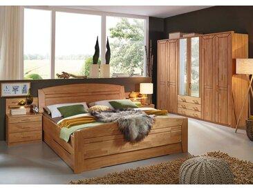 4-tlg. Schlafzimmer mit Fronten in Erle massiv, Korpus in Dekor-Druck, Schrank m. Spiegeltüren B: 282 cm, Bett B: 188 cm, 2 Nachttische B: 58 cm