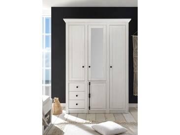 Kleiderschrank in Pinie-Weiß-Nachbildung mit 4 Türen und 3 Schubkästen, 2 Kleiderstangen und 6 Böden, Maße: B/H/T ca. 147/206/64 cm