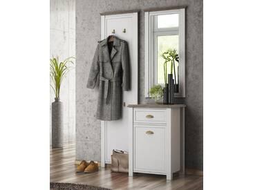 Garderobe in weiß mit Appl. in San Remo-Eiche-NB, bestehend aus: Kommode, Garderobenwandpaneel, Spiegel, Gesamtmaße: B/H/T ca. 120/193/43 cm