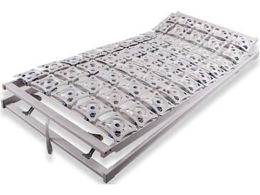 Teller-Federrahmen mit 50 freischwingenden Micropoint-Federeinheiten bei 90 x 200 cm Größe. Mehrstufige Kopf- und Fußteilverstellungen