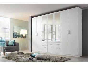 7-trg. Drehtüren-Kombischrank in alpinweiß mit 3 Spiegeltüren, 6 Schubkästen, 6 Einlegeböden und 4 Kleiderstangen, Maße: B/H/T ca. 315/229/54 cm