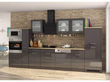 Küchenblock, grau Hochglanz, Stellmaß: ca. 370 cm, Details lt. Artikelbeschreibung