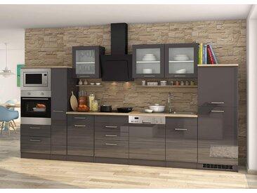 Küchenblock, grau Hochglanz, Stellmaß: ca. 370 cm, mit Elektrogeräten inkl. Geschirrspüler und Mikrowelle