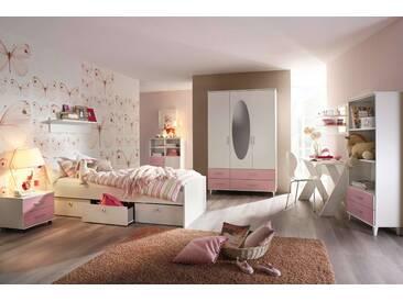 3-tlg. Jugendzimmer in Alpinweiß mit Abs. in Rosa inkl. 3-trg. Drehtürenkombischrank, Umbauliege (90 x 200 cm) mit 3 Schubkästen und Roll-Nachttisch