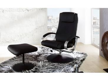 Relax Sessel inkl. Hocker in Kunstleder schwarz, verstellbarer Rücken, Maße: Breite: ca. 70 cm, Tiefe: ca. 88 cm, Höhe: ca. 115 cm