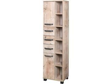 Hochschrank in Eiche Antik-Nachbildung, mit 2 Türen, 3 Schubkästen, 2 Einlegeböden und 6 Regalfächer, Maße: B/H/T ca. 41,9/163,7/32 cm