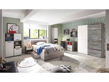 Jugendzimmer mit Korpus in Driftwood-Nachbildung und Fronten weiß, Kleiderschrank, Schreibtisch, Bett mit Liegefläche ca.140 x 200 cm und Nachtschrank