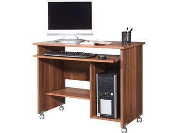 Computertisch in Walnuss-Nachbildung, Towerfach, Druckerablage und Tastaturauszug, Maße: B/H/T ca. 90/72/48 cm