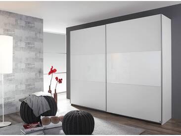 Schwebetürenschrank in alpinweiß/Absetzungen weißes Glas, 2-türig, 2 Böden, 2 Kleiderstangen, Maße: B/H/T ca. 175/210/59 cm