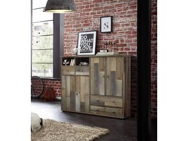 Schuhschrank in Driftwood-Nachbildung mit 4 Türen dahinter je 2 Böden, 4 Schubkästen und 2 offenen Fächern, Maße: B/H/T ca. 130/117/40 cm