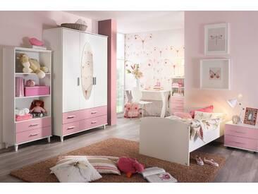 3-tlg. Jugendzimmer in Alpinweiß mit Absetzungen in Rosa inkl. 3-trg. Drehtürenkombischrank, Umbauliege (90 x 200 cm) und Roll-Nachttisch
