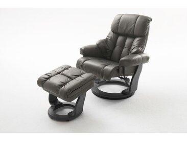 Relaxsessel in Echtleder schlamm inkl. Hocker, Gestell schwarz, Maße: B/H/T ca. 90/104-89/91-122 cm