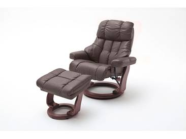 Relaxsessel XXL in braunem Echtleder inkl. Hocker, Gestell walnuss/nussbaum, Maße: B/H/T ca.  97/102-110/92-120 cm
