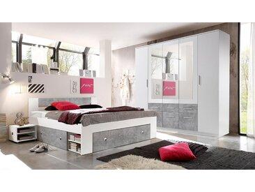 Schlafzimmer in weiß mit Absetzungen in Beton Dekor, bestehend aus Drehtürenschrank B: ca. 212 und Kojenbett inkl. 2 Nachtkonsolen B: ca. 185 cm