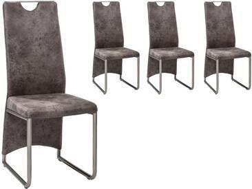4 Hochlehn-Stühle mit hellem Microfaser-Vintage-Look, Gestell und Griff in Edelstahl-Look, Maße: B/H/T ca. 43/102/58 cm