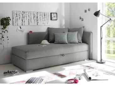 Recamiere in hellgrauem Webstoff mit 4 Kissen, Bettkasten und Taschenfederkern, Maße: B/H/T ca. 208/84/100 cm