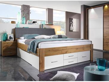 Bett in Eiche Wotan-NB mit Abs. in alpinweiß, Sockelschubladen und Stauraumelement, Maße: B/H/T ca. 185/104/237 cm