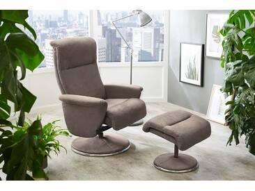 Relax Sessel in beigem Microfaser bezogen mit Chromapplikationen inkl. Hocker, Polsterung aus Schaum mit Polsterbändern, Maße: B/H/T ca. 76/106/71 cm