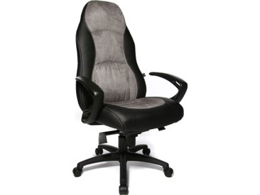 Chefsessel in schwarz-grau, mit Sportsitz, gepolsterte Rückenlehne und dick aufgepolsterter Muldensitz, Sitzbreite ca. 55 cm