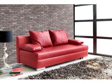 Schlafsofa in Kunstleder rot 2 Rückenkissen und 2 Armlehnkissen, inkl. Bettkasten Maße B/H/T ca. 190/89/89 cm