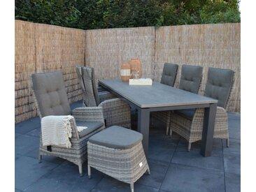 Gartentisch mit einem Gestell in anthrazit aus Aluminium u. einer Cherry-Board Tischplatte, kratzfest u. grau strukturiert, Maße: ca. 240/74/100cm