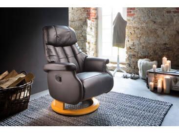 Relaxsessel-Komfort mit manueller Bedienung, in Echtleder schlamm, Gestell schwarz, Maße: B/H/T ca. 77/87-111/86-158 cm