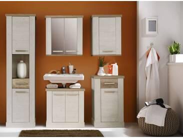 Badezimmer 5-tlg. in Pinie-weiß-NB u. Eiche-Antik-NB, Kommode, Waschbeckenschrank, Seitenschrank, Hängeschrank, Spiegeltürenschrank