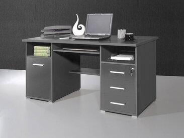 Büroschreibtisch in anthrazit mit 2 offenen Fächern, li 1 Tür u re 3 Schubladen 1 davon ist abschließbar,Tastaturauszug, Maße: B/H/T ca. 145/75/70 cm