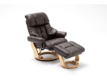 Relaxsessel in braunem Echtleder inkl. Hocker, Gestell natur, Maße: B/H/T ca. 90/104-89/91-122 cm