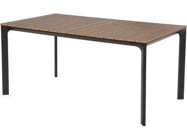 Gartentisch mit einem Aluminiumgestell in anthrazit und einer Polywood-Tischplatte in Teakholz-Optik, Maße: B/H/T ca. 160/74/90 cm