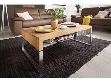 Couchtisch aus Asteiche massiv, Tisch, Wohnzimmertisch, Sofatisch, Massivholz, Metallgestell, Maße: B/H/T ca. 110/39/70 cm