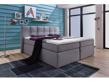 Boxspringbett in Webstoff grau, Liegefläche 180 x 200 cm, inkl. 7-Zonen-Tonnentaschen-Federkern-Matratzen
