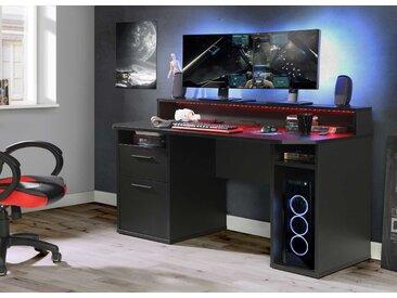 Computerschreibtisch in Schwarz mit Monitoraufsatz und Schubkasten, B/H/T ca. 160/91,1/72 cm