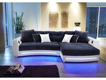 Ecksofa in weiß (Kunstleder) und blau (Microfaser) inkl. Multimediapaket und LED-Beleuchtung, 2 gr. Kissen und 4 kl. Kissen, Schenkelmaß: 322/190 cm