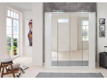 Falt-/Drehtürenschrank 4-trg. in weiß, 5 Einlegeböden, 2 Kleiderstangen, 2 Spiegeltüren, Maße B/H/T ca. 183/200/64 cm