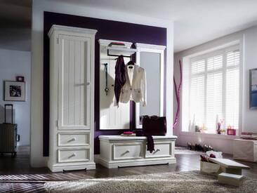Garderobe-Set aus massiven, recyceltem Kiefernholz weiß/white sanded, Gesamtmaß: B/H/T ca. 180/200/40 cm