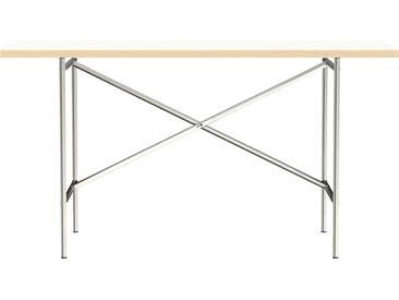 Schreibtisch E2 - 140 x 70 cm - Moderner Bürotisch mit versetztem Kreuz - Tischplatte weiß - Gestell verzinkt - von Modulor