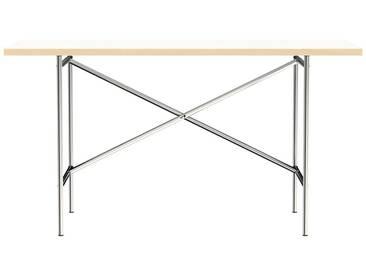 Schreibtisch E2 - 140 x 70 cm - Moderner Bürotisch mit versetztem Kreuz - Tischplatte weiß - Gestell verchromt - von Modulor