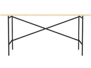 Schreibtisch E2 - 160 x 80 cm - Moderner Bürotisch mit versetztem Kreuz - Tischplatte weiß - Gestell schwarz - von Modulor