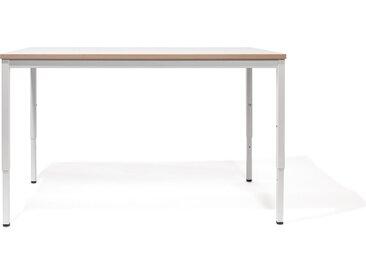 Kinderschreibtisch M2 - 120 x 68 cm - moderner, höhenverstellbarer Kindertisch - Tischplatte weiß/Buche - Gestell weiß - von Modulor
