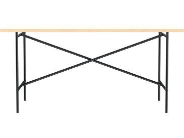 Besprechungstisch E2 - 160 x 80 cm - Moderner Bürotisch mit mittigem Kreuz - Tischplatte weiß - Gestell schwarz - von Modulor