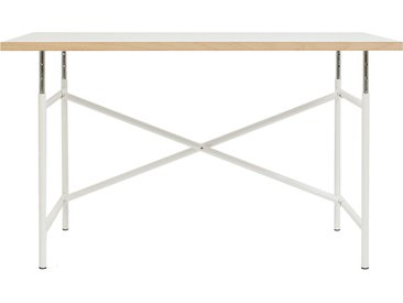 Kinderschreibtisch E2 - 120 x 68 cm - moderner, höhenverstellbarer Kindertisch - Tischplatte weiß/Buche - Gestell weiß - von Modulor