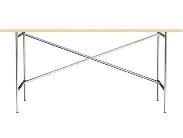 Schreibtisch E2 - 160 x 80 cm - Moderner Bürotisch mit versetztem Kreuz - Tischplatte weiß - Gestell verchromt - von Modulor