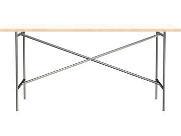 Besprechungstisch E2 - 160 x 80 cm - Moderner Bürotisch mit mittigem Kreuz - Tischplatte weiß - Gestell Stahl natur - von Modulor