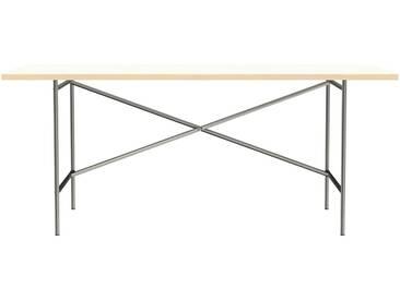 Schreibtisch E2 - 180 x 90 cm - Moderner Bürotisch mit versetztem Kreuz - Tischplatte weiß - Gestell Stahl natur - von Modulor