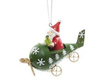 Weihnachtsmann Flugzeug Grün
