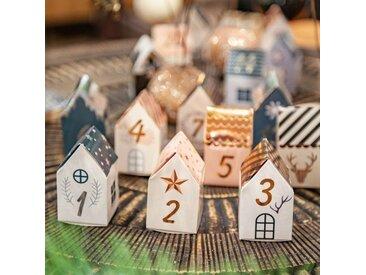 Adventskalender zum selber machen 24 Häuser Modell 2 Mehrfarbig