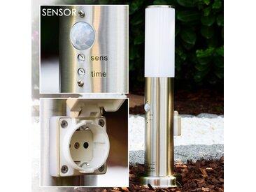 Caserta Außenstehleuchte Edelstahl, 1-flammig, Bewegungsmelder - Modern/Design - Außenbereich - versandfertig innerhalb von 1-2 Werktagen