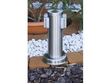Caserta Außensteckdose Silber - Modern/Design - Außenbereich - versandfertig innerhalb von 1-2 Werktagen